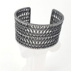 Lucky Brand Bracelet Cuff Gunmetal Rhinestones